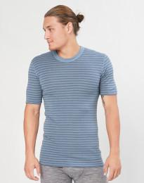 Heren merino t-shirt blauw gestreept