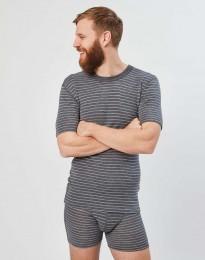 Heren Merino T-Shirt grijs gestreept