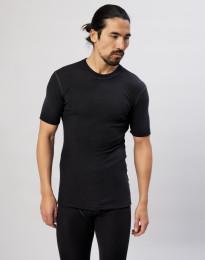 Merinos shirt met halflange mouwen voor heren zwart