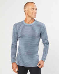 Merinos shirt met lange mouwen voor heren blauw gestreept
