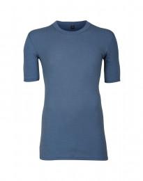 Geribd merino heren T-shirt duifblauw