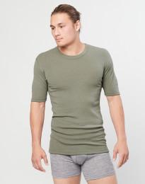 Geribd heren T-shirt olijfgroen