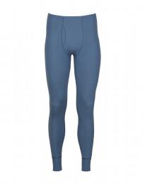 Geribde merino legging met gulp duifblauw
