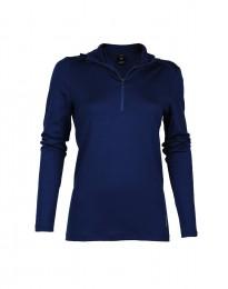 Capuchon-shirt van exclusieve merinoswol voor dames donkerblauw
