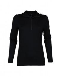Capuchon-shirt van exclusieve merinoswol voor dames zwart