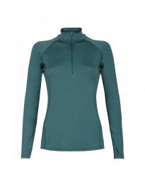 Trui voor dames met rits - exclusieve merinowol groen-blauw