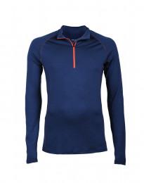 Mannen trui met rits - exclusieve merinowol Donkerblauw