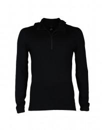 Capuchon shirt van exclusieve merinoswol voor heren zwart