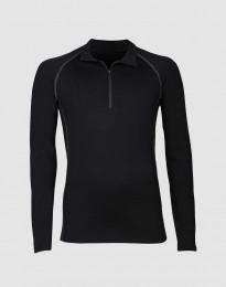 Mannen trui met rits - exclusieve merinowol zwart