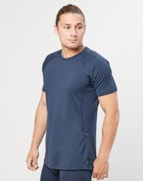 Heren T-shirt - biologische exclusieve merino wol grijsblauw