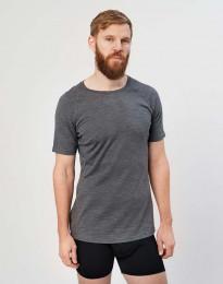 Heren T-shirt - biologische exclusieve merino wol donkergrijs melange