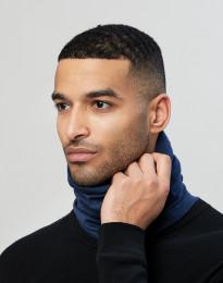Colsjaal voor heren van natuurlijke exclusieve merino wol donkerblauw