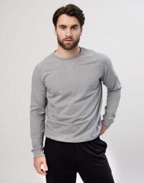 Katoenen sweater voor heren in grijs melange