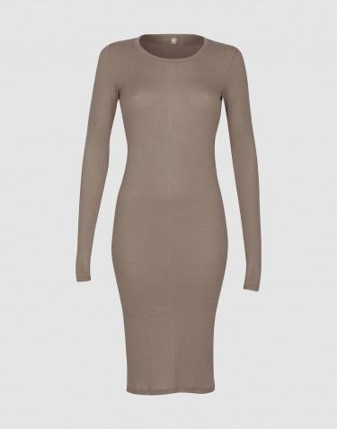 Nachthemd met lange mouwen in ribkwaliteit voor dames - Zandkleur