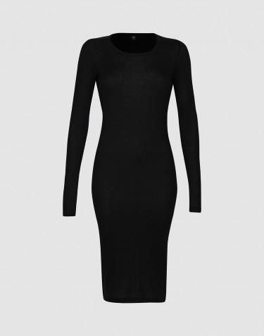 Nachthemd met lange mouwen in ribkwaliteit voor dames - Zwart