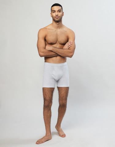 Geribde boxershorts van katoen met gulp grijs
