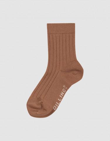 Geribde merinowollen sokken voor kinderen - Caramel