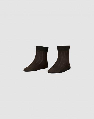 Geribde merinowollen sokken voor kinderen -Chocoladebruin