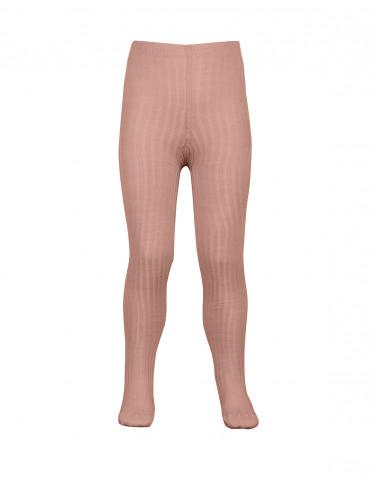 Kinder maillot met ribstructuur - biologisch merino wol donker beige