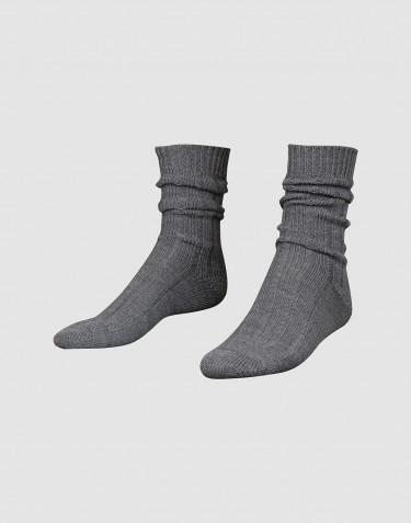 Knusse wollen sokken voor heren donkergrijs melange