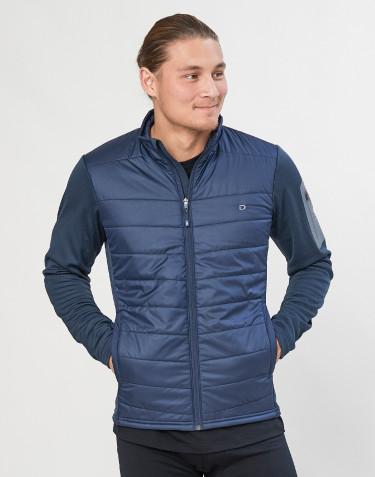 Hybride jas met ritssluiting voor heren - merino/gerecycled polyester donkerblauw