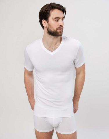 Katoenen heren T-shirt met v-hals wit