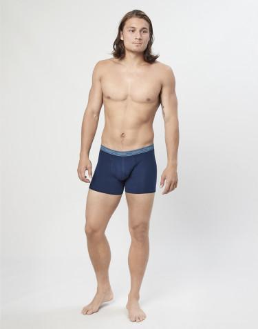 3-pack katoenen boxershorts met gulp blauw