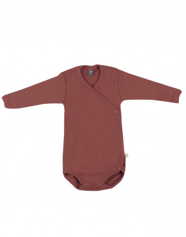 Baby wikkelromper van merino wol rouge