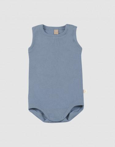 Baby romper zonder mouwen van merino wol blauw