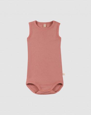 Baby romper zonder mouwen van merino wol donker roze