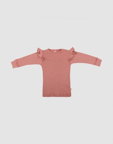 Baby trui met ruches gemaakt van merino wol donker roze