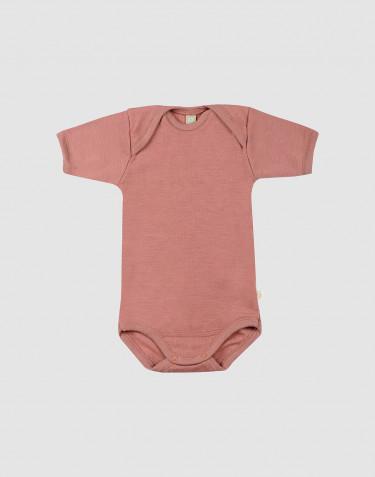 Wollen baby romper met korte mouwen donker roze