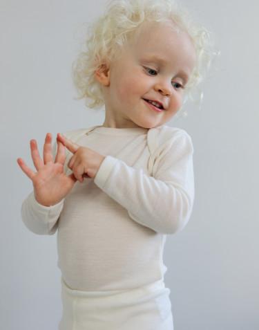 Baby romper met lange mouwen - BIO merinowol natuur