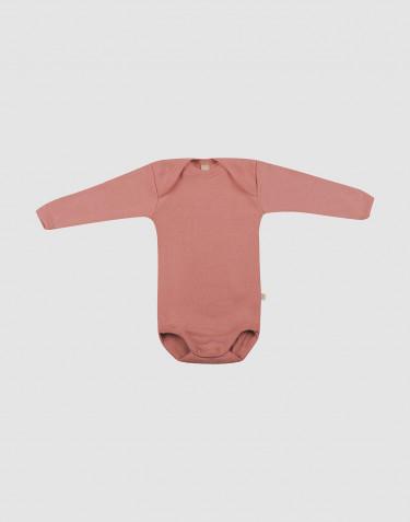 Wollen baby romper met lange mouwen donker roze