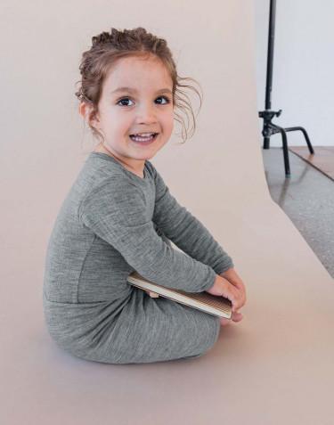 Geribde baby romper grijs melange