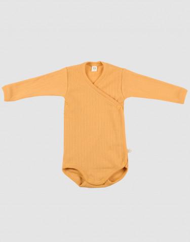Geribde wikkelromper voor baby's geel