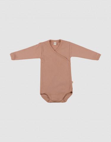 Merino wikkelromper voor baby's donker beige