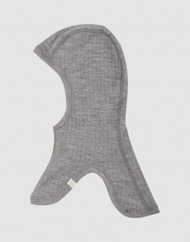 Ribgebreide kinder bivakmuts grijs melange