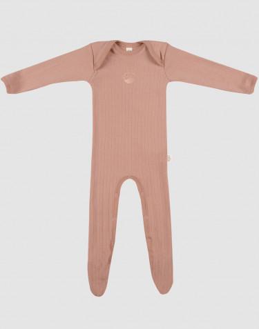 Merino baby boxpakje met voetjes donker beige
