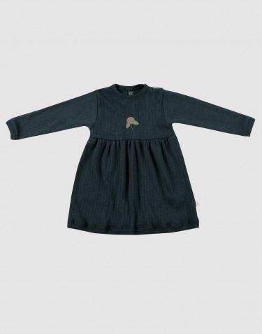 Geribde wollen jurk voor baby's donker petrolblauw