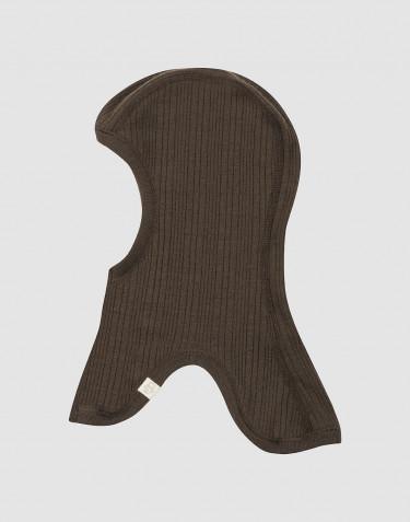 Ribgebreide bivakmuts van merino wol voor baby's chocoladebruin