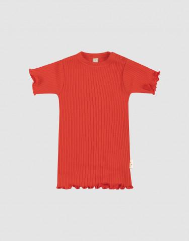 Merino wollen T-shirt met ruches aan de randen voor baby's