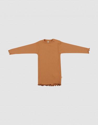 Merino trui met golvende randen voor baby's karamel