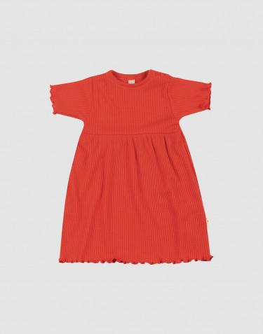Merino wollen jurk met ruches aan de randen voor baby's
