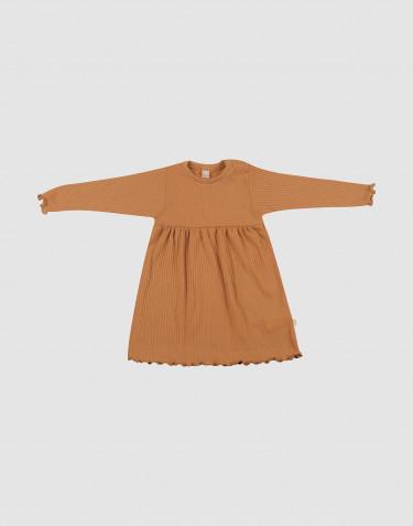 Merino jurk met golvende randen voor baby's karamel