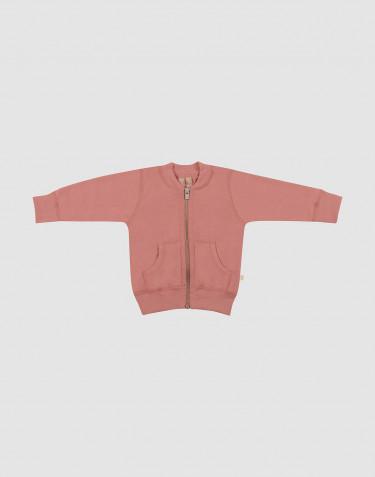 Wollen baby jas van wollen terry donker roze