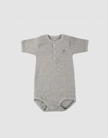 Grijze gestreepte baby romper met korte mouwen van katoen