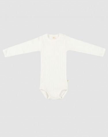 Baby romper met lange mouwen van natuurlijk katoen wit