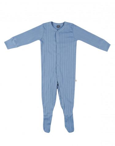 Romper met lange mouwen en voetjes van natuurlijk katoen blauw