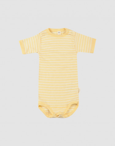 Baby romper met korte mouwen van biologische wol en zijde lichtgeel/natuur